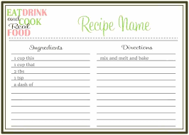 Recipe Form Templates Recipe Book Layout Template