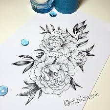 эскиз татуировки цветы черно белые 44959 тату салон дом элит тату