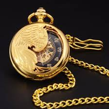 discount gold pocket watch case 2017 gold pocket watch case on whole retro gold semi hollow phoenix wings carving case men hand wind necklace fob clock mens fashion skeleton mechanical pocket watch gold pocket watch