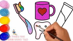 Ươm Mầm Sáng Tạo - Bé học vẽ tranh tô màu bàn chải đánh răng và răng cho  trẻ em ♥ Tìm hiểu vẽ màu sơn cho trẻ mới biết đi