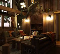 Flo's design incorporates a real tree into the treehouse interior.