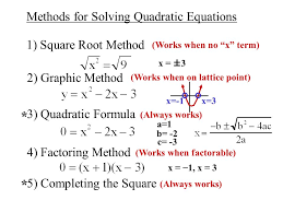 completing the square objective to solve quadratic equations by 2 methods