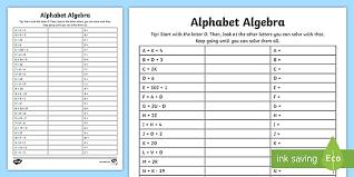 free ks2 alphabet algebra equations