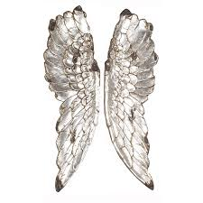 angel wings wall art silver