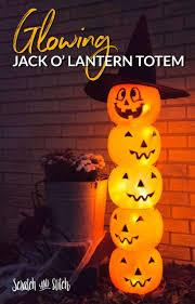 Pumpkin Yard Light Cover Halloween Plastic Pumpkins Light Up Totem Pole Yard