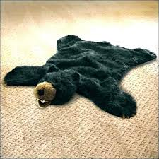 faux bear skin rug with head fake pattern marvelous white be