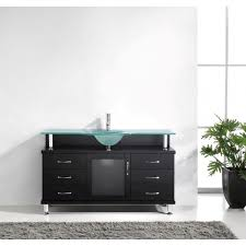 55 inch bathroom vanity with single sink with frosted tempered glass countertop