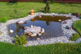 this elegant little pond shaped in a natural oblong manner resides at the center of a lawn wrapped in polished stones sprinkled with greenery and various