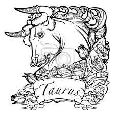 Fototapeta Znamení Býka S Ozdobným Rámečkem Růží Astrologie Umění Pojetí