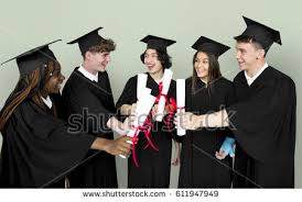 group graduates looking through their diploma stock photo  diverse group of students holding diploma
