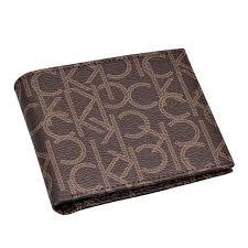 calvin klein calvin klein two bi fold wallet ck monogram leather brown of coin purse