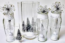 Large Glass Vase Decorated for Christmas with fake snow and bottle brush  Christmas trees-Dollar