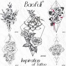 ромб цветок лотоса листья временные геометрические татуировки роза филиал