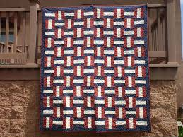 Quilts Of Valor Fabric Kits Quilt Of Valor Fabric Panels Quilt Of ... & ... American Patriotic Basketweave Rail Fence Like Fabric Valor Quilt Kit  Red Blue By Privatesourcequiltin On Etsy ... Adamdwight.com