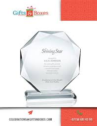 Employee Of The Month Trophy Custom Glass Trophies And Awards Crystal Diamond Shape