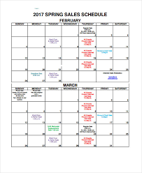 8 Sales Calendar Templates Free Sample Example Format