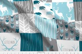 Sugar Pine Design Fabric Spoonflower Whole Cloth Fabric Wholecloth Quilt Winslow Woodland Blue Grey Teal Deer Antlers Arrows Woodgrain Patchwork By Sugarpinedesign