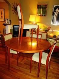 mid century danish modern teak svegard markaryd dining table 6 chairs 2 leaves