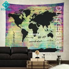 bohemian world map watercolor wall tapestry grunge tapestryhippie hanging tapestries modern mapworld art mural wallpaper