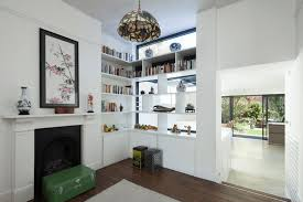 creative corner open wall shelving ideas with white
