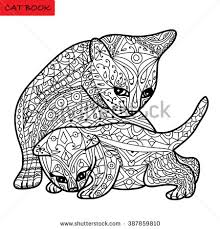 cat mother and her kitten coloring book for s zentangle cat book hand