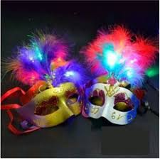 Mask Decorating Supplies 100pcslot Multi Color Halloween LED feather Mask party flash mask 21