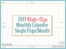 2017 calendars by month 2017 half size monthly calendar printables