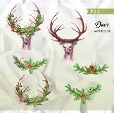 deer watercolor deers antlers bullfinches hand painted