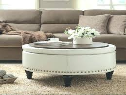 round white leather ottoman large tufted wood coffee table tray for henley bed