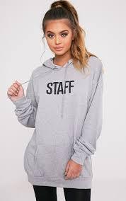 Light Grey Oversized Hoodie Staff Slogan Grey Oversized Hoodie Tops
