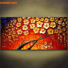unframed colorful red flower hand painted palette knife painting modern wall art canvas painting for living room artwork rvgp5643