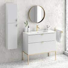 40 Modern Bathroom Vanity Cabinet Set Aspen Rhd White Wood Gold Handles And Legs Vanity Ceramic Top Sink On Sale Overstock 30978220