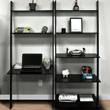 leaning shelf desk com 2 pc white finish wood wall with shelves