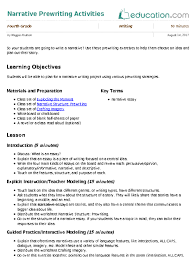narrative prewriting activities lesson plan com