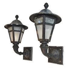 large pair of 1920 cast iron and metal outdoor sconces for