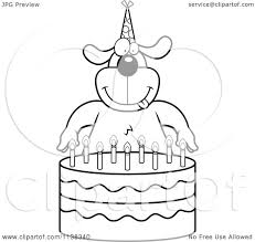 Small Picture Cartoon Clipart Of An Outlined Dog Making A Wish Over Candles On A