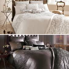 the intricate kylie minogue eva bedding collection features matt and shiny sequins creating bursts of sparkle amidst large sequin tear shaped cers