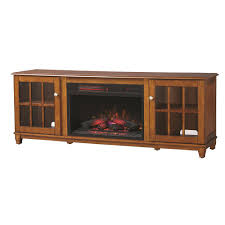 lowboy tv stand electric fireplace in chestnut