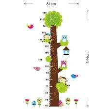 Kids Height Chart Cute Owl Tree Animals Height Chart Wall Stickers
