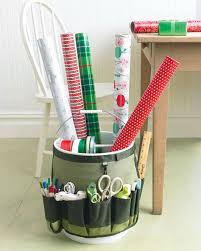make a portable gift wrapping station using a pail and a garden bucket caddy