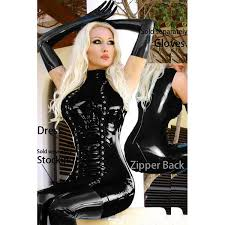 latex rubber buckle dress black women dress sleeveless tight black fashion hallowen y women leather dress