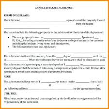 Sample Sublease Agreement Commercial Sublease Agreement Template Sublet Contract