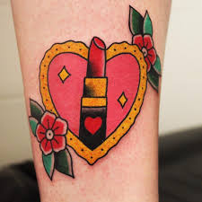lipstick with heart tattoo