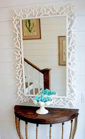 home décor red crab wall mirror wood