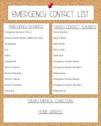 Emergency Contact Printable List Of Contacts Template Demiks Co