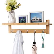 Coat Hook Rack With Shelf Inspiration Amazon LANGRIA WallMounted Coat Hook Bamboo Wooden Coat Rack