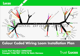triumph t140 tr7 lucas wiring harness 54962258 54961593 19 19662 triumph t140 tr7 genuine lucas wiring harness 54962258 54961593 19 1962 99 1259