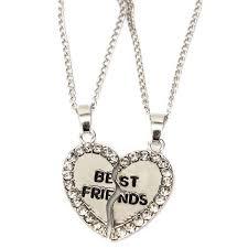 rhinestone broken heart double parts best friend pendant necklaces cod