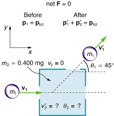 a purple ball of mass m1 and velocity v one moves in the right direction into