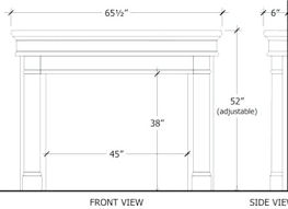standard fireplace mantel dimensions